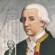 Sellos: EDIFIL 1819, FORJADORES DE AMERICA,JUAN FRANCISCO DE LA BODEGA,, TARJETA MAXIMA DE 12-10-1967. Lote 114567531