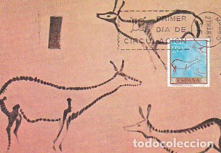 EDIFIL Nº 1787, PINTURA RUPESTRE DE LA CUEVA COVALANAS EN CANTABRIA. TARJETA MAXIMA 27-3-1967 (Sellos - Temáticas - Historia)