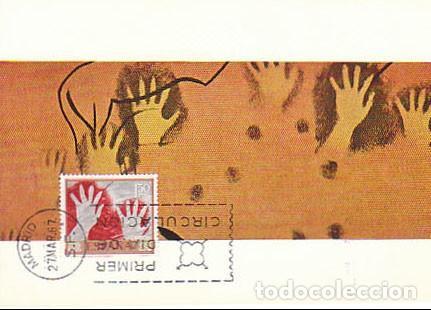 EDIFIL Nº 1783, PINTURA RUPESTRE DE LA CUEVA EL CASTILLO EN CANTABRIA. TARJETA MAXIMA 27-3-1967 (Sellos - Temáticas - Historia)