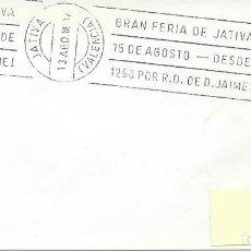 Sellos: AÑO 1980. JÁTIVA. RODILLO GRAN FERIA DE JÁTIVA-DESDE 1250 POR JAIME I. TURISMO.. Lote 115300195