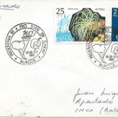 Sellos: AÑO 1980. BURGOS. MATASELLOS PREJUVENIA. JUAN DE GARAY. BARCOS. MAPAS. SOBRE CIRCULADO CERTIFICADO.. Lote 115302027
