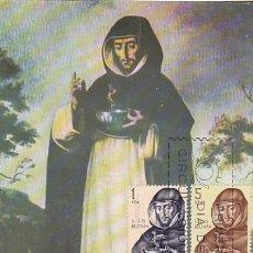 Sellos: EDIFIL 1681 Y 85, SAN LUIS BELTRAN (FORJADORES DE AMERICA 1965) TARJETA MAXIMA DE 12-10-1965. Lote 117545467