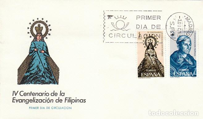 EDIFIL 1693/4, IV CENTENARIO EVANGELIZACION DE FILIPINAS, PRIMER DIA DE 3-12-1965 SOBRE DE ARRONIZ (Sellos - Temáticas - Historia)
