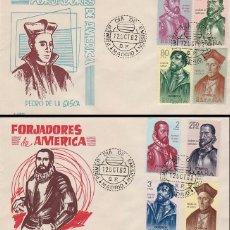 Sellos: EDIFIL 1454/61, FORJADORES DE AMERICA 1962, PRIMER DIA DE 12-10-1962 EN 2 SOBRES DE SOBREFIL. Lote 120539935
