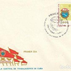 Sellos: CUBA, 45 ANIVERSARIO DE LA CENTRAL DE TRABAJADORES DE CUBA, PRIMER DIA DE 28-1-1984. Lote 122893951