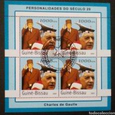 Sellos: CHARLES DE GAULLE HOJA BLOQUE DE SELLOS USADOS DE GUINEA BISSAU. Lote 133444730