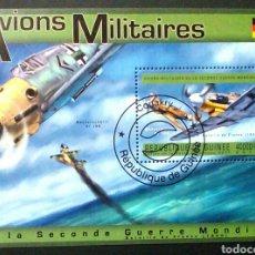 Sellos: AVIACIÓN MILITAR INGLESA II GUERRA MUNDIAL 3 HOJAS BLOQUE DE SELLOS USADOS DE GUINEA. Lote 133523251