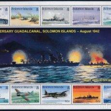 Sellos: SELLOS SOLOMON ISLANDS 1992 50 AÑOS BATALLA DE GUADALCANAL . Lote 139200970