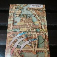 Sellos: HB S. TOME Y PRINCIPE MTDOS/1991/PLANO CIUDAD PARIS/EXPOSICION/AVES/BANDERAS/PUENTES/ARQUIRESTURA. Lote 142997257