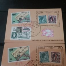 Sellos: HB R. CUBA MTDAS/1985/19TH CONGRESO FILATELIA DE LA U.P.U/CARTAS/SOBRE/SELLO/SELLO/DIOSES/TIERRA. Lote 143829146