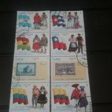 Sellos: SELLOS R. CUBA MTDOS/1990/HISTORIA DE AMERICA LATINA/BANDERAS/ESCUDOS/TRAJES TIPICOS/FOLKLORE/CONSTU. Lote 143879606