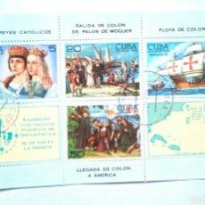 Sellos: CUBA ANIVERSARIO DESCUBRIMIENTO DE AMÉRICA HOJA BLOQUE DE SELLOS USADOS. Lote 144947150