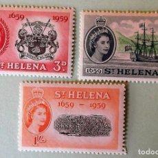 Sellos: SANTA HELENA. 138/40 TRICENTENARIO DE LA COLONIA.ISABEL II DE INGLATERRA. NAVÍO LONDON DEL CAPITÁN J. Lote 147802714