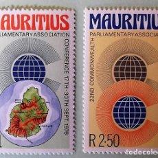 Sellos: MAURICIO. 423/24 CONFERENCIA PARLAMENTARIOS CONMONWEALT: LOGO Y MAPA. 1976. SELLOS NUEVOS Y NUMERAC. Lote 147802846