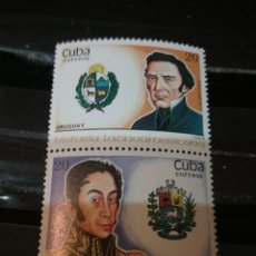 Sellos: SELLOS R. CUBA NUEVOS/1988/HISTORIA LATINOAMERICA/MILITARES/UNIFORMES/HEROES/VENEZUELA/URUGUAY/ESCUD. Lote 147914592