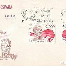 Sellos: EDIFIL 2489/90, AMERICA-ESPAÑA, SIMON BOLIVAR Y JOSÉ DE SAN MARTIN, PRIMER DIA DE 12-10-1978 SFC . Lote 148052114