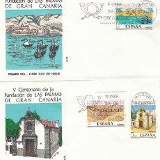 Sellos: EDIFIL 2477/9, V CENTº FUNDACION DE LAS PALMAS DE GRAN CANARIA, PRIMER DIA 23-6-1978 2 SOBRES ALFIL . Lote 148052894