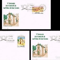 Sellos: EDIFIL 2477/9, V CENTº FUNDACION DE LAS PALMAS DE GRAN CANARIA, PRIMER DIA DE 23-6-1978 3 SOBRES SFC. Lote 148055374