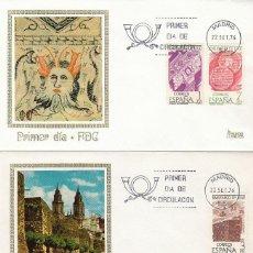 Sellos: EDIFIL 2356/8, BIMILENARIO DE LUGO, PRIMER DIA DE 22-9-1976 EN 2 SOBRES DE MUNDO FILATELICO. Lote 150408326