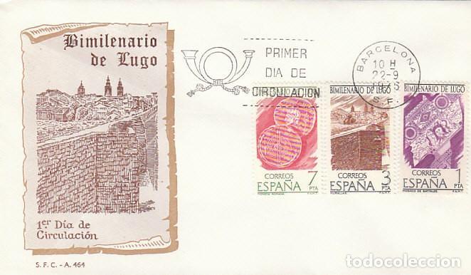 EDIFIL 2356/8, BIMILENARIO DE LUGO, PRIMER DIA DE 22-9-1976 SOBRE DEL SFC (Sellos - Temáticas - Historia)