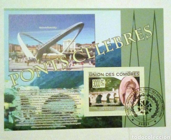 COMORAS CELEBRES PUENTES HOJA BLOQUE DE SELLOS USADOS (Briefmarken - Thematische - Geschichte)