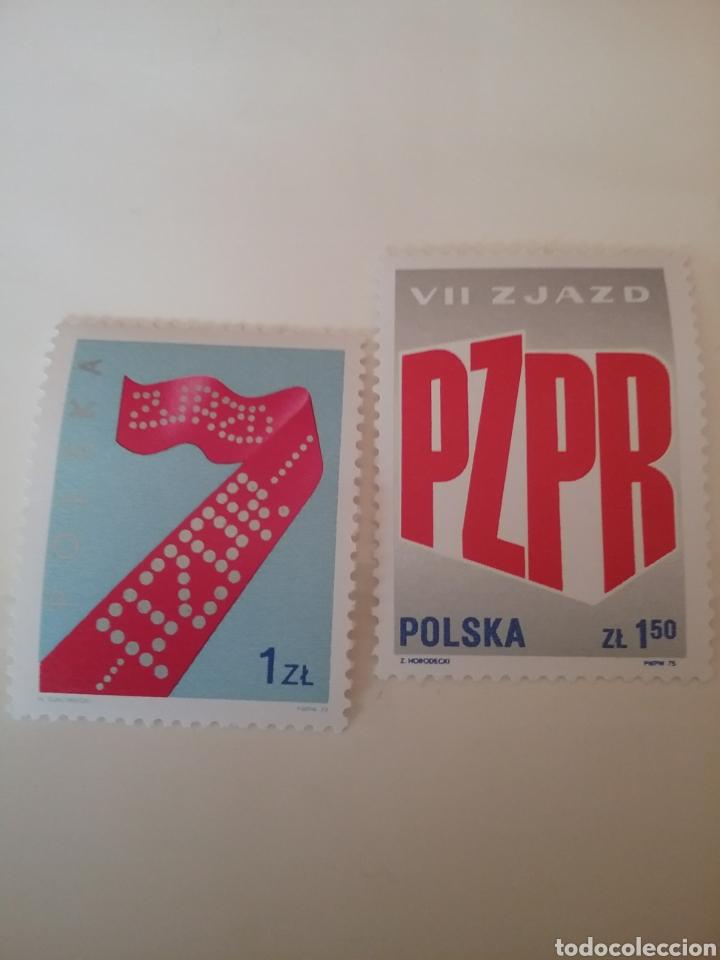 SELLOS R. POLONIA (POLSKA) MTDOS/1976/7 ENCUENTRO PARRIDO UNION TRABAJADORES POLACOS/EMBLEMA/SIMBOL/ (Sellos - Temáticas - Historia)