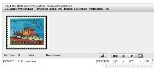 Sellos: Sellos R. Polonia (Polska) mtdos/1974/100 Aniv. Umion Postal Intern/caballos/diligencia/carruaje/dio - Foto 2 - 150647374