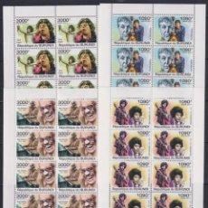 Sellos: BURUNDI 2011 - 4 HB - 10 SERIES COMPLETAS - CANTANTES CELEBRES - NUEVAS, SIN FIJASELLOS. Lote 152552042