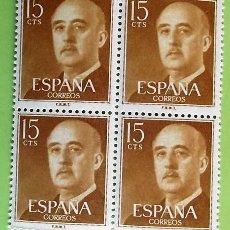 Sellos: ESPAÑA. 1144 GENERAL FRANCO, EN BLOQUE DE CUATRO. 1955/56. SELLOS NUEVOS Y NUMERACIÓN EDIFIL. Lote 155815692