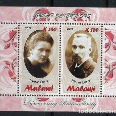 Sellos: MALAWI 2011 HB *** GRANDES CIENTIFICOS - MARIE Y PIERRE CURIE - PERSONAJES. Lote 155914590
