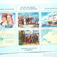 Sellos: CUBA ANIVERSARIO DESCUBRIMIENTO DE AMÉRICA HOJA BLOQUE DE SELLOS USADOS. Lote 156273022