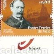 Sellos: PORTUGAL ** &NOMBRES DE LA HISTORIA Y CULTURA PORTUGUESA, FONTES PEREIRA DE MELO,POLITICO 2019 (3422. Lote 156633150