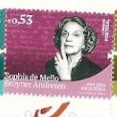Sellos: PORTUGAL ** & HISTORIA Y CULTURA PORTUGUESA, SOPHIA DE MELLO BREYNER ANDRESEN, ESCRITORA 2019 (3422 . Lote 156633894