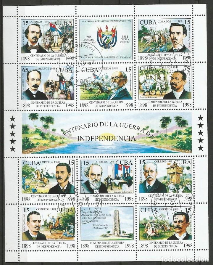 CUBA - CENTENARIO DE LA GUERRA DE INDEPENDENCIA - BLOQUE - PLIEGO DE 1998 (Sellos - Temáticas - Historia)