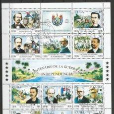 Sellos: CUBA - CENTENARIO DE LA GUERRA DE INDEPENDENCIA - BLOQUE - PLIEGO DE 1998 . Lote 156664062