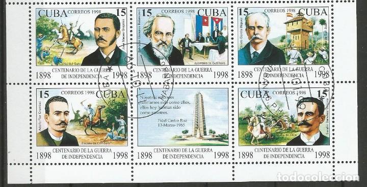 Sellos: CUBA - CENTENARIO DE LA GUERRA DE INDEPENDENCIA - BLOQUE - PLIEGO DE 1998 - Foto 4 - 156664062