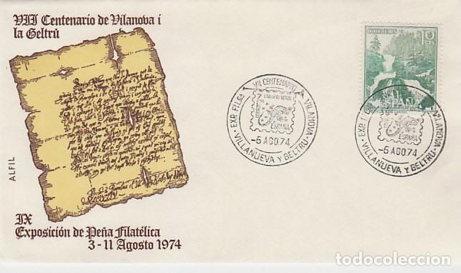 AÑO 1974, VII CENTENARIO DE LA CARTA PUEBLA DE VILANOVA I LA GELTRU, SOBRE DE ALFIL (Sellos - Temáticas - Historia)