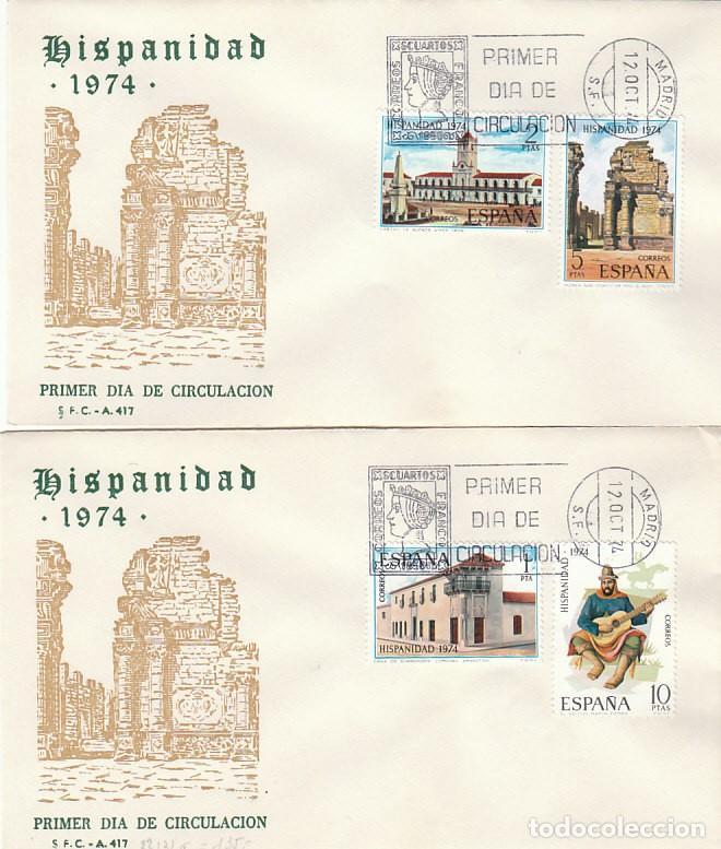 EDIFIL 2213/6, HISPANIDAD: ARGENTINA, PRIMER DIA DE 12-10-1974 EN DOS SOBRES DEL SFC (Sellos - Temáticas - Historia)