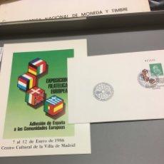 Sellos: CARTERITA + SOBRE EXPOSICIÓN FILATÉLICA EUROPEA1986. Lote 159704084