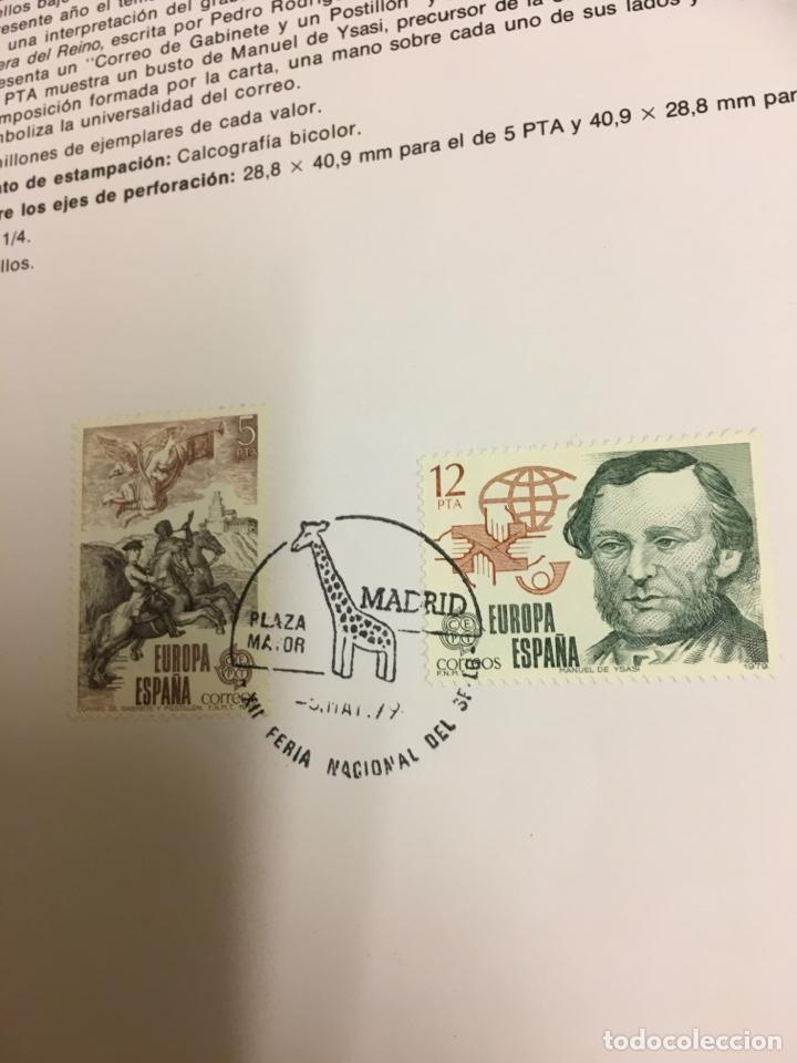 2 SELLOS HOJA EDIFIL EUROPA 79 HISTORIA DEL CORREO (Sellos - Temáticas - Historia)