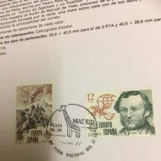 Sellos: 2 SELLOS HOJA EDIFIL EUROPA 79 HISTORIA DEL CORREO. Lote 159706941