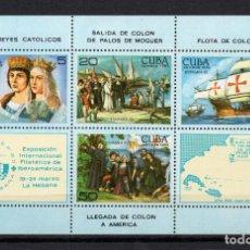 Sellos: CUBA HB 85** - AÑO 1984 - BARCOS - DESCUBRIMIENTO DE AMERICA. Lote 185960430