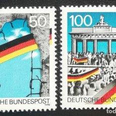 Sellos: 1990. HISTORIA. ALEMANIA. 1313 / 1314. CONMEMORACIÓN CAÍDA MURO BERLÍN. SERIE COMPLETA. NUEVO.. Lote 160980406