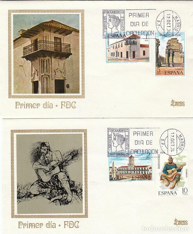 EDIFIL 2213/6, HISPANIDAD: ARGENTINA, PRIMER DIA DE 12-10-1974 EN DOS SOBRES DE MUNDO FILATELICO (Sellos - Temáticas - Historia)