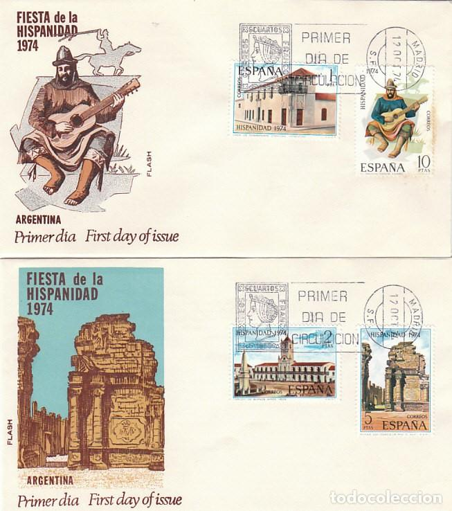 EDIFIL 2213/6, HISPANIDAD: ARGENTINA, PRIMER DIA DE 12-10-1974 EN DOS SOBRES DE ALFIL/FLASH (Sellos - Temáticas - Historia)