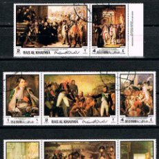 Sellos: RAS AL KHAIMA Nº 420/27, HISTORIA DE FRANCIA, NAPOLEON ,LUIS XIV DE FRANCIA, USADO. Lote 161540662