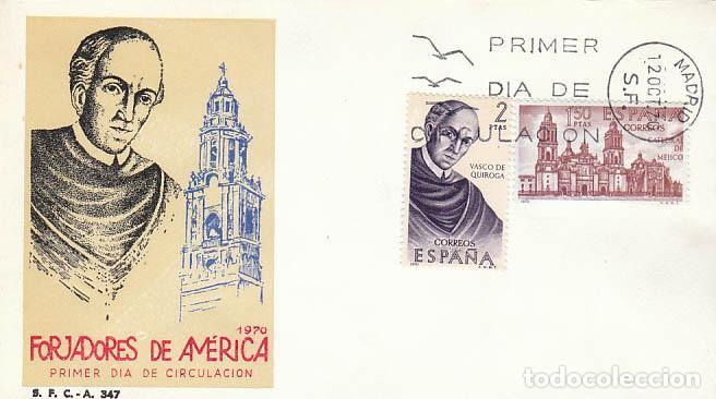 EDIFIL 1998, VASCO DE QUIROGA, FORJADORES DE AMERICA: MEJICO PRIMER DIA DE 12-10-1970, SFC (Sellos - Temáticas - Historia)