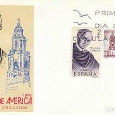 Sellos: EDIFIL 1998, VASCO DE QUIROGA, FORJADORES DE AMERICA: MEJICO PRIMER DIA DE 12-10-1970, SFC. Lote 176322918