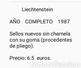SELLOS DE P. LIECHTENSTEIN NUEVOS (21 VALORES)/1987/ AÑO COMPLETO/PECES/ANIVERSARIOS/ARTE/EDIFICIOS/ (Sellos - Temáticas - Historia)