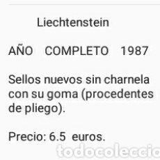 Sellos: SELLOS DE P. LIECHTENSTEIN NUEVOS (21 VALORES)/1987/ AÑO COMPLETO/PECES/ANIVERSARIOS/ARTE/EDIFICIOS/. Lote 165833077